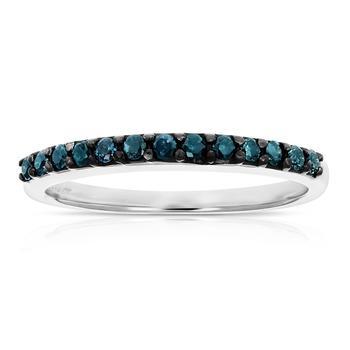 商品1/4 cttw Blue Diamond Ring Wedding Band .925 Sterling Silver 13 Stones Round图片