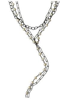 商品Black Rhodium Plated Sterling Silver 5mm Freshwater Pearl Messy Layered Y Necklace图片