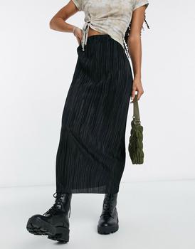 商品ASOS DESIGN plisse column midi skirt in black图片