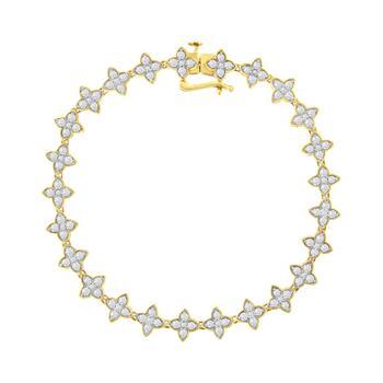 商品Haus of Brilliance 10K Yellow Gold 2.0 cttw Round-Cut Diamond 4 Leaf Clover Link Bracelet (J-K Color, I1-I2 Clarity) - 7.25''图片
