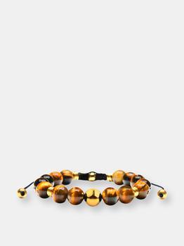 商品Gold Plated Stainless Steel Tiger's Eye Stone Adjustable Bracelet (10mm)图片