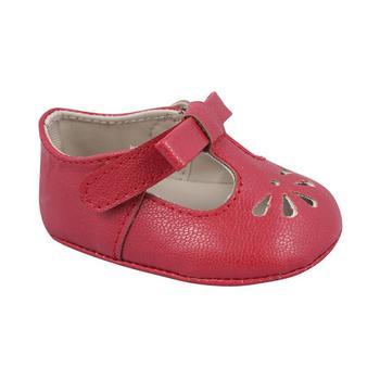 商品Baby Girl Soft Leather-Like T-Strap with Bow and Perforation图片