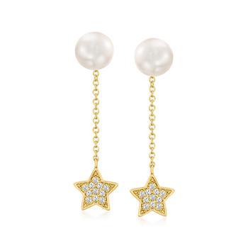 商品Ross-Simons 7mm Cultured Pearl Removable Star Drop Earrings With . Diamonds in 14kt Yellow Gold图片