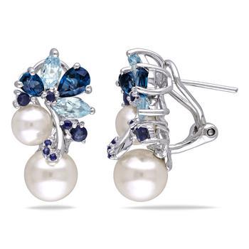 商品Amour Sterling Silver FW White Pearl 5 CT TGW Multi-color Topaz and Sapphire Ear Pin Earrings图片