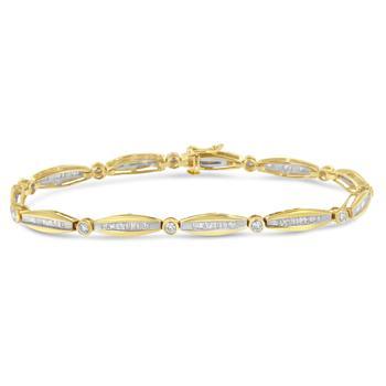 商品Haus of Brilliance 14K Yellow Gold 1 1/2ct TDW Diamond Bezel and Link Tennis Bracelet (H-I, I1-I2)图片