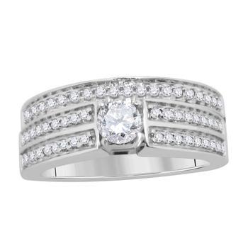 商品maulijewels 0.65 Ct Natural White Diamond Engagement Wedding Bridal Ring Set Crafted In 10K Rose White & Yellow Gold For Woman Best Gift Ever图片