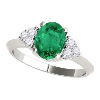 商品Maulijewels 1.00 Carat Emerald & Round White Diamond Gemstone Ring In 10K Solid White, Rose Yellow Gold图片