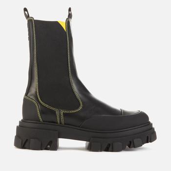 商品Ganni Women's Leather Tall Chelsea Boots - Black图片