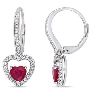 商品Amour 14k White Gold 1 3/5 CT TGW Ruby White Sapphire and 1/10 CT TW Diamond Earrings图片