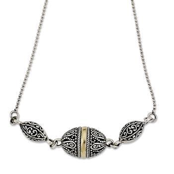 商品Sterling Silver And 18K Yellow Gold Filigree Marquise Shaped Necklace图片