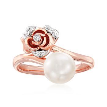 商品Ross-Simons 7.5-8mm Cultured Pearl Rose Bypass Ring With Diamond Accents in 18kt Rose Gold Over Sterling图片