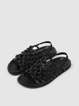 商品Knotted Sandal on Footbed Black Nappa图片