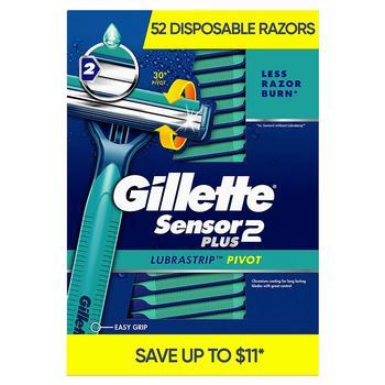 商品Gillette Sensor2 Plus Pivoting Head + Lubrastrip Men's Disposable Razors (52 ct.)图片