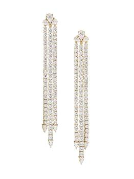 商品Daytime 18K Gold-Plated & Cubic Zirconia Triple-Strand Drop Earrings图片