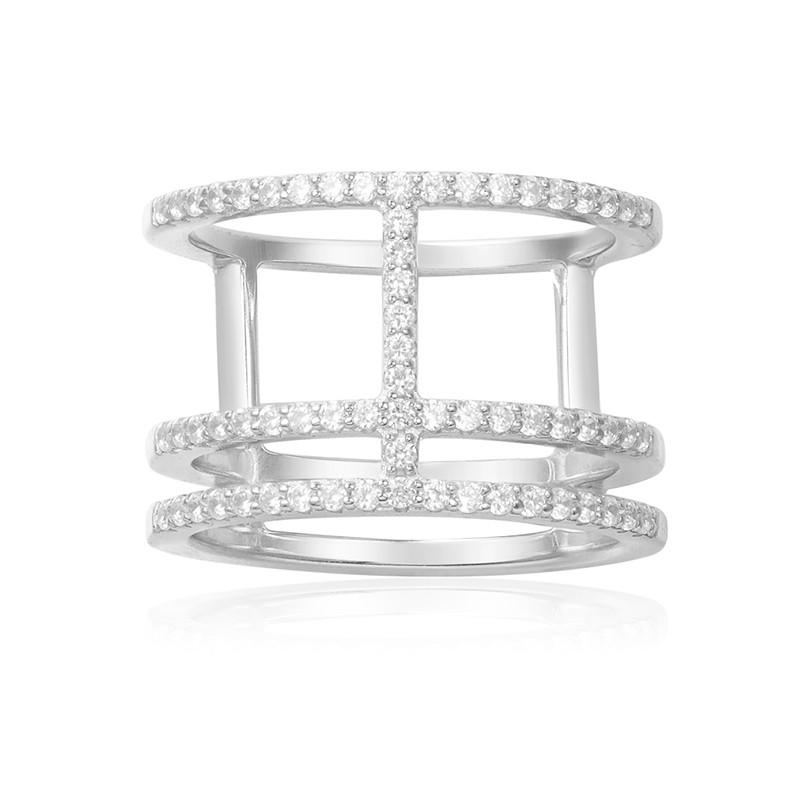 商品银色镶晶钻 经典 闪耀 三环王字 戒指 A14726OX 随机尺寸图片