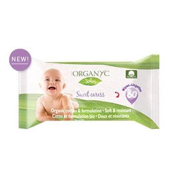商品Organyc Baby Wipes Sweet Caress 100% Organic Cotton, 60 Ea图片