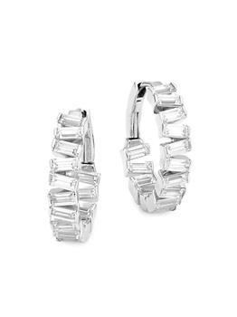 商品Stacked Sterling Silver & Cubic Zirconia Medium Hoop Earrings图片