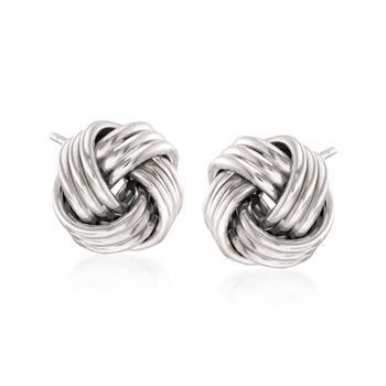商品Ross-Simons 14kt White Gold Love Knot Stud Earrings图片
