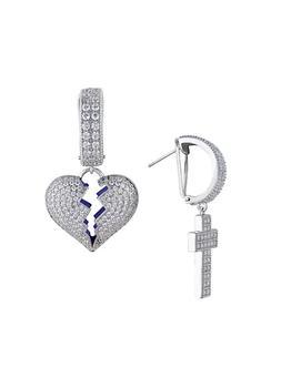 商品18K White Gold-Plated & Cubic Zirconia Mismatched Broken Heart & Cross Drop Earrings图片