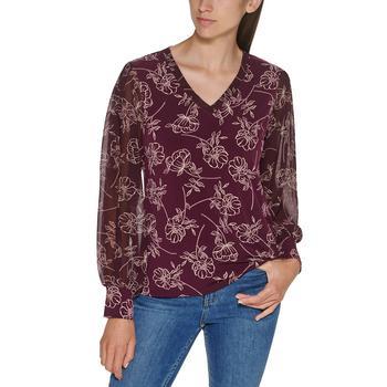 商品Floral Print Chiffon Sleeve Blouse图片