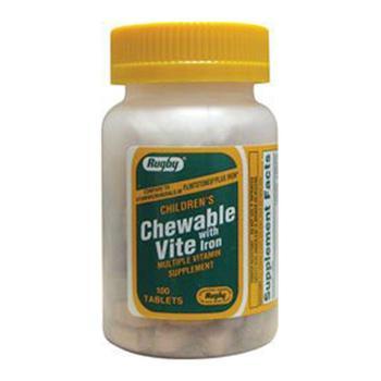 商品Childrens Chewable Vite With Iron Supplement Tablets By Rugby - 100 Tablets图片