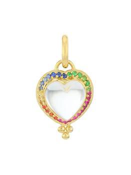 商品Cl Crystal 18K Gold Pavé Heart Pendant With Rock Crystal And Mix Color Sapphires图片