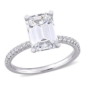 商品Amour Ladies 10k White Gold 3 Ct Emerald Cut White Moissanite Pave Ring Size 9图片