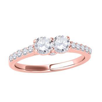 商品Maulijewels 0.75 Carat Natural Round Diamond Two Stone Prong Set Engagement Ring For Women Solid 14K Rose Gold In Size 5.5图片