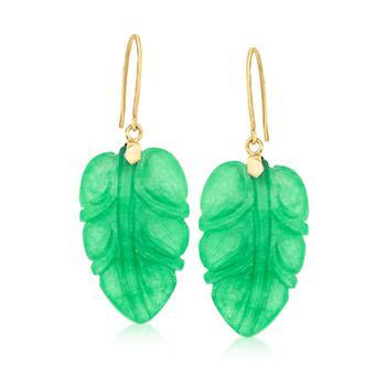 商品Ross-Simons Jade Leaf Drop Earrings With 14kt Yellow Gold图片