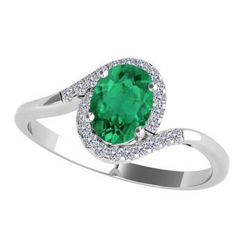 商品Maulijewels 1.00 Carat Emerald & Diamond Gemstone Ring In 10K White Gold图片
