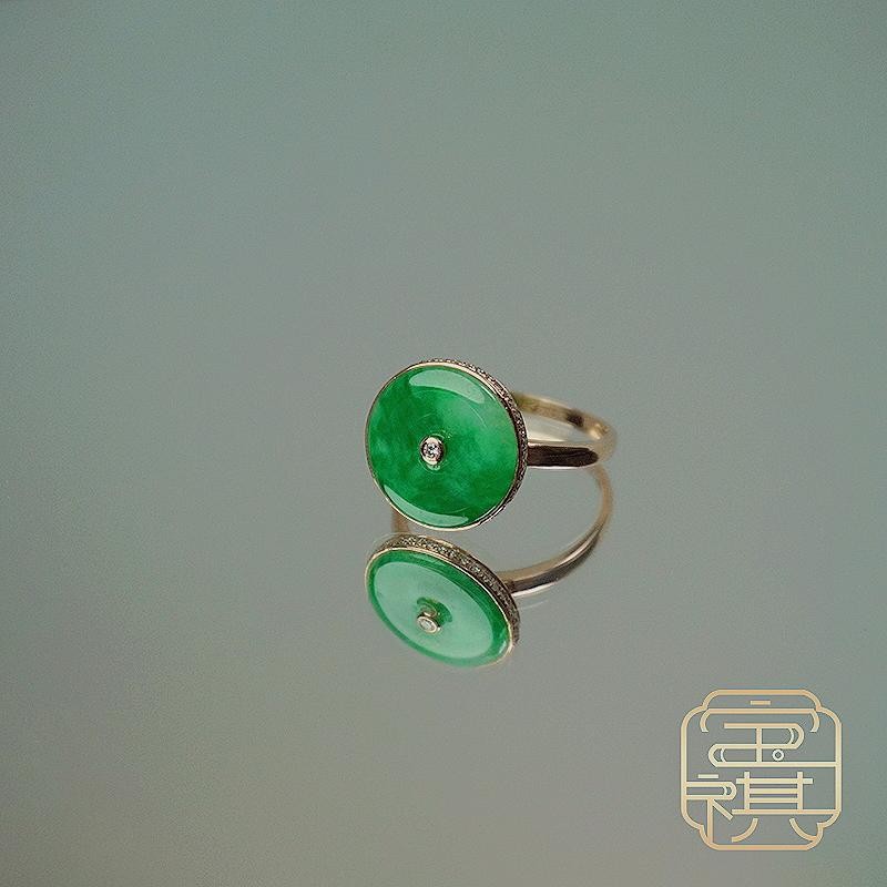 商品[宝祺]翡翠绿平安扣戒指BQFCJZ20210929003 图片
