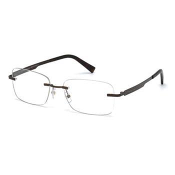 商品Ermenegildo Zegna Unisex Brown Rectangular Eyeglass Frames EZ502602956图片