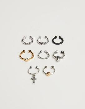 商品Bershka 8 pack nose rings in silver and gold图片