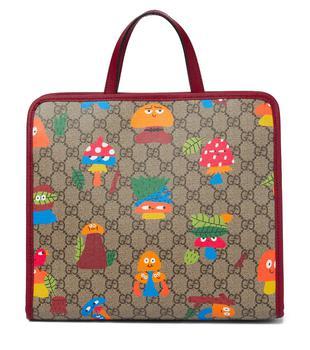 商品x Nina Dzyvulska GG 印花帆布手提包 儿童托特包  高度 25cm 宽度 28,5cm深度 10cm图片