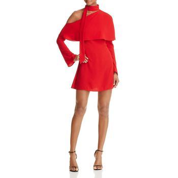 商品Yigal x AQUA Women's One Shoulder Tie-Neck Popover Mini Dress图片