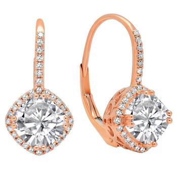 商品Dazzling Rock Dazzlingrock Collection 14K 6 MM Each Cushion Lab Created White Sapphire & Round Diamond Ladies Hoop Earring, Rose Gold图片