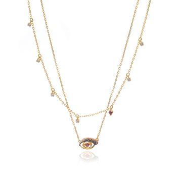 商品Swarovski New Love Gold Tone Dark Multi Colored Crystal Necklace 5483979图片