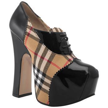 商品Burberry Vintage Check And Patent Leather Lace-up Platform Shoes, Brand Size 35 (US Size 5)图片