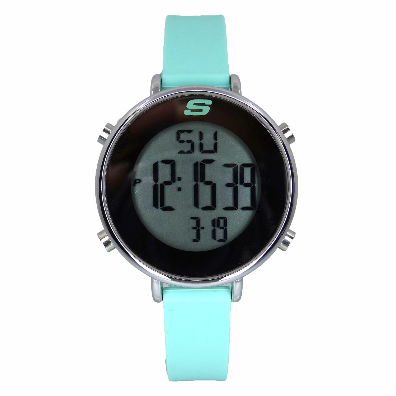 商品斯凯奇女士SR6070玉兰数字显示日历,背光,警报,计时码表不锈钢/绿色手表图片