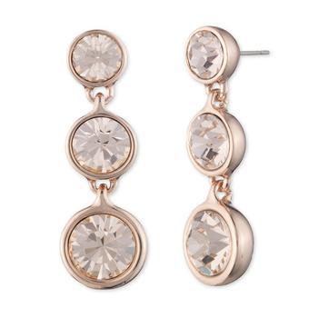 商品Gold-tone and Rose Crystal Drop Earring图片