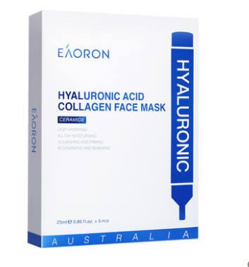 商品EAORON澳洲EAORON进口水光针玻尿酸白面膜补水保湿紧致面膜5片装*3盒图片