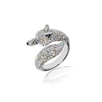 商品施华洛世奇水晶银色狼头动物系列6.5号戒指图片