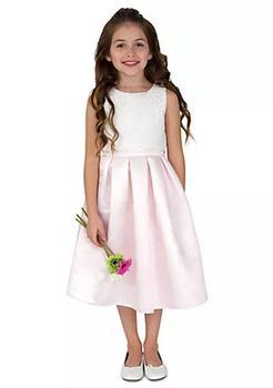 商品Flower Girl Satin And Lace Sleeveless Lace Popover Bodice With Full Skirt- Girls 7-16图片