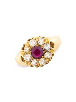 商品Victorian 18K Yellow Gold, Ruby & Diamond Halo Ring图片
