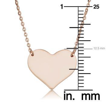 商品10k Rose Gold High Polish Heart Necklace (18 inch)图片