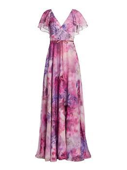 商品Tiered Flutter-Sleeve Gown图片