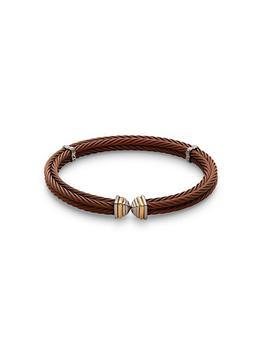 商品Stainless Steel, 18K White Gold & Yellow Gold Cuff Bracelet图片