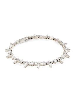 商品Stunner 18K White Goldplated & Cubic Zirconia Clover Bracelet图片