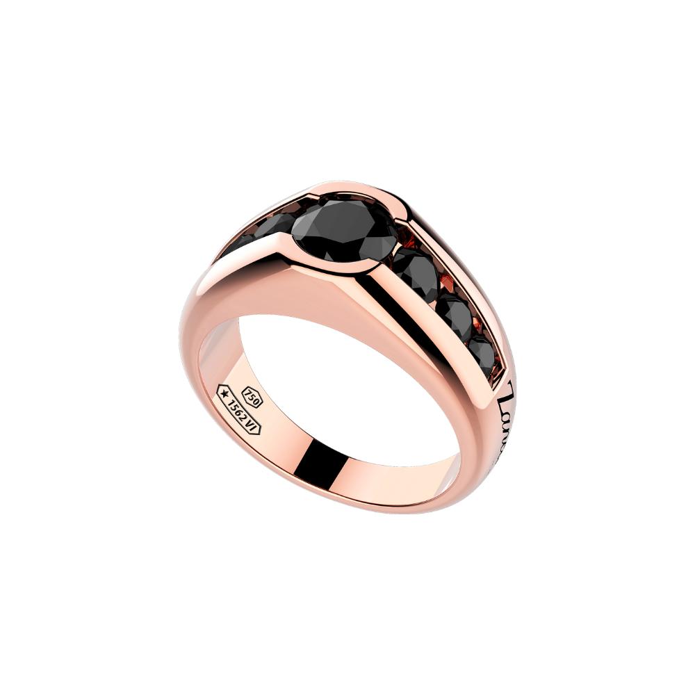 商品18k rose gold ring with black diamonds.图片