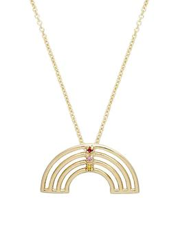 商品Pura Arcoiris 9K Yellow Gold, Ruby & Sapphire Pendant Necklace图片